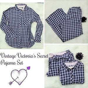 Victoria's Secret Cotton Pajamas Set Plaid VTG 90s